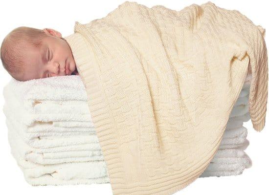 Wallaboo Babydeken Eden - Wiegdeken in 100% Merino wol- 70 x 90 cm - Crème