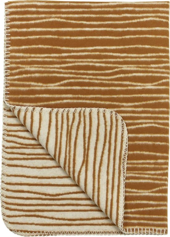 Meyco stripe flanel wiegdeken - 75x100 cm - camel/offwhite