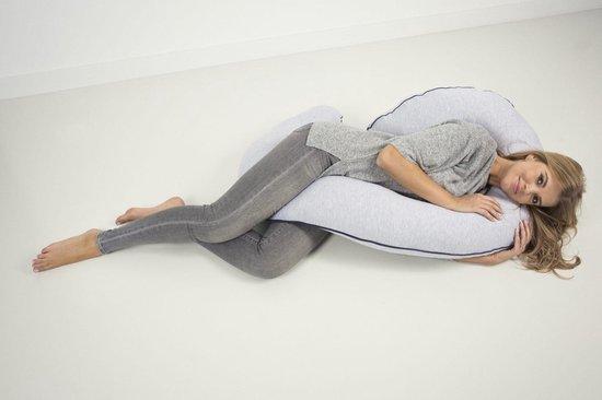 P'tit Chou Zwangerschapskussen - Zijslaapkussen - Positioneringskussen - Voedingskussen - Lichaamskussen - Body pillow - Grijs - Afneembare hoes inclusief opbergtas